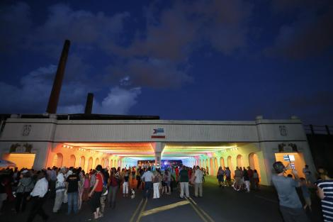18th Street Railroad Viaduct Lighting by Bill Fitzgibbons,  Opening party in June, 2013