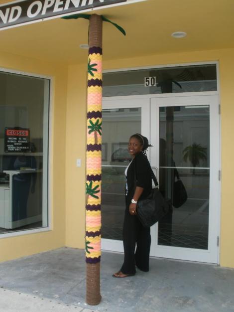 Dahlia Baker with her Yarn Art Pole in Pompano