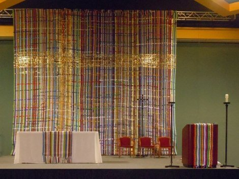 "With artist Linda Witte Henke, the congregation created a woven tapestry measuring 22 feet wide by 22 feet high. Titled ""Bound Together"""