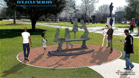 Rendering of Four Spirits Memorial by artist Elizabeth MacQueen
