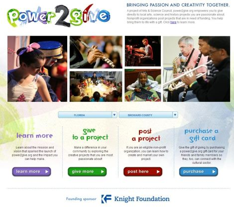 Landing Page for Power2Give.org