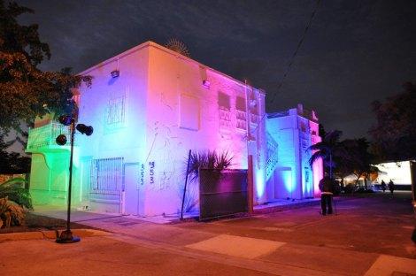 Ali Building illuminated for groundbreaking in Feb 2013.