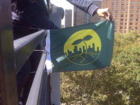 Flag to show participation in Seeding the City, Eve Mosher