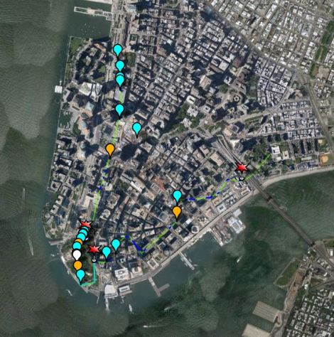 Walking map of lower Manhatten's highwter line with sea rise.  Eve Mosher's High Water Line, NYC, 2007