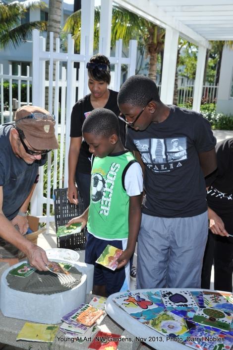 Carlos Alves teaches tile mosaics.